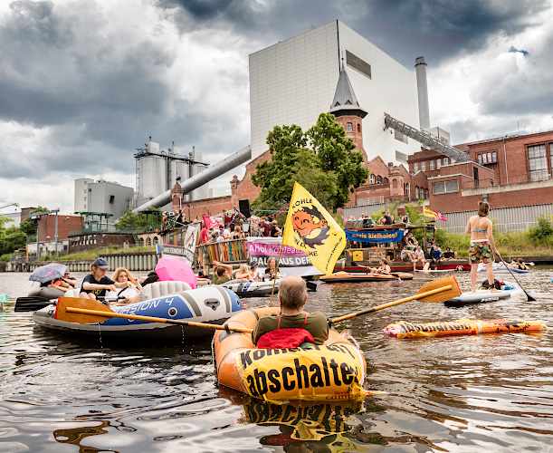 Antikohle-Demo vor Steinkohlenkraftwerk Moabit Berlin 2018