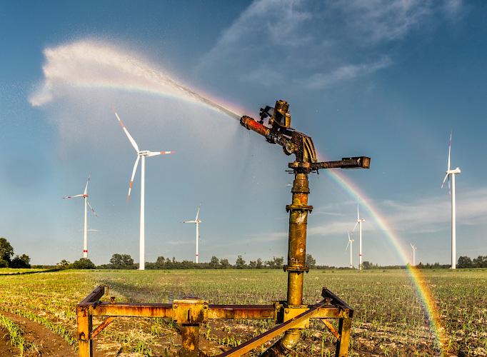 Bewaesserungsanlage im Windpark Christinendorf Luedersdorf , Trebbin 2018