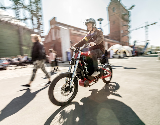 Electric driven Motorbike eROCKIT at Future Electric Mobility Summit Berlin 2019