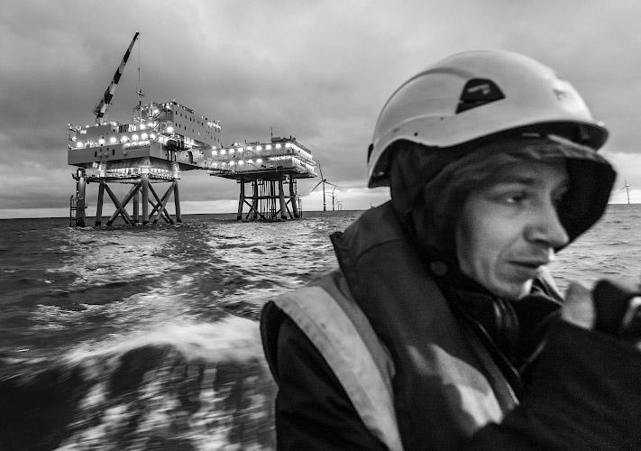 Offshore Accommodation Platform der DanTysk Offshore Windfarm. Deutsch-dänische Nordsee 2018