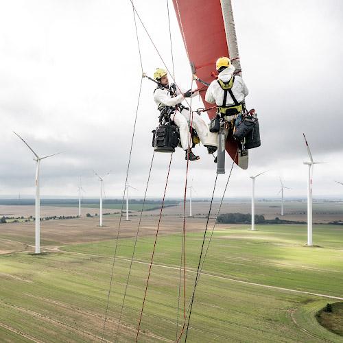 Industriekletterer im Windpark Hohenselchow 2021