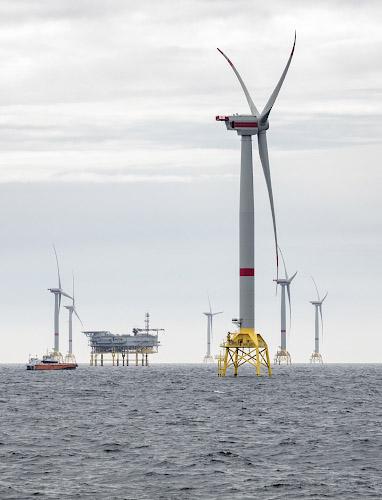 Offshore Windpark Wikinger, Turbinen Adwen 5.135. Ostsee, Baltisches Meer 2019