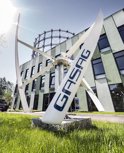 EUREF CAMPUS - Reallabor der Energiewende. Helix Darrieus Rotor Kleinwindanlage KD. Berlin 2019