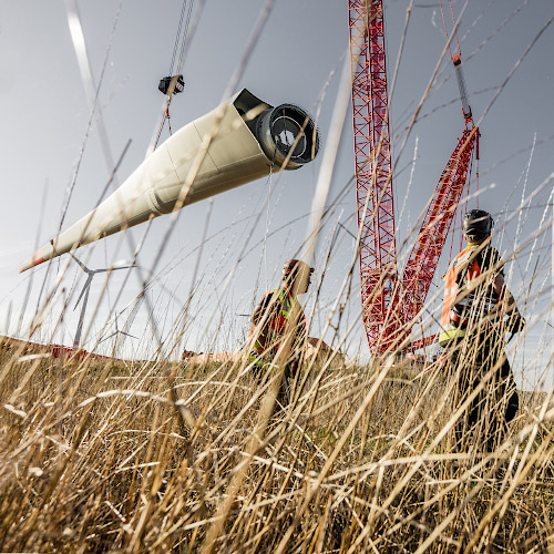 Aufbau Enercon WEA E126 im Windpark Feldheim 2019